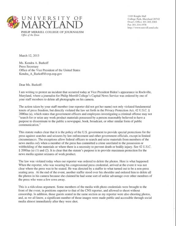 Letter To Kendra Barkoff