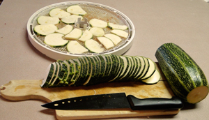 Zucchini cut up to dry