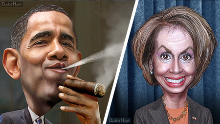 Obama and Pelosi. Source: DonkeyHotey, Flickr2Commons cc-by-2.0. https://www.flickr.com/photos/donkeyhotey/16018574316/ 